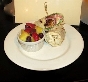 Blackened chicken wrap with fruit