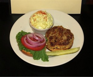Crab cake sandwich with potato salad