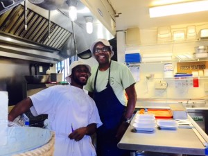 Owner Ricky Moore and his assistant James at Saltbox Seafood Joint