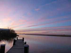 Sunset over the Mobile Delta at the back of BLUEGILL on the Mobile Causeway.