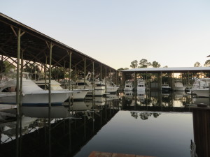 The serene marina beside Fisher's in Orange Beach.