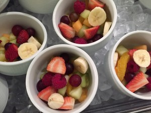 Colorful fresh fruit in the breakfast buffet