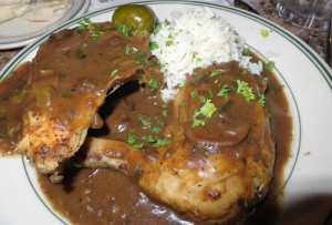 Chicken espagnole with rice.