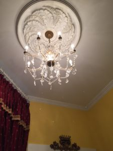 Chandelier in the Camelot room.