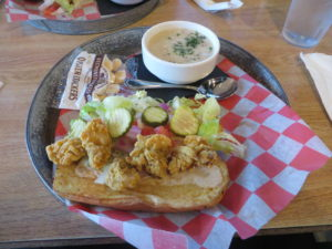 Oyster Po Boy and Clam Chowder at The Oyster House, Pine Mountain, GA.