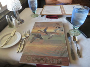 Our table at the Gardens Restaurant.