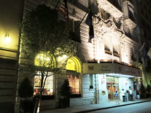 Hotel Monteleone lit up at night.