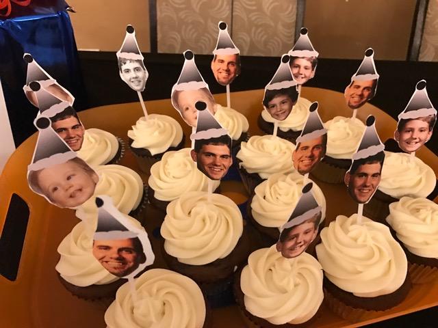 Cupcakes adorned with Matt heads.