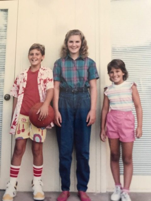 1st day of school, mid-1980's, with Laura and Julie