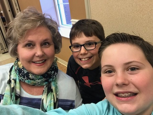 A selfie with Grandmomma, Luke and Seth.