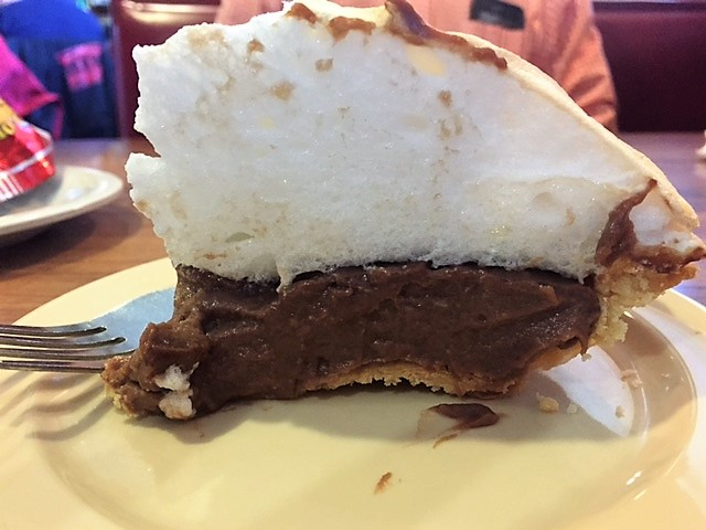 Look at the meringue on this slice of chocolate pie!
