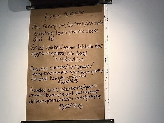 A handy-dandy way to list the daily specials -- a roll of brown butcher paper.