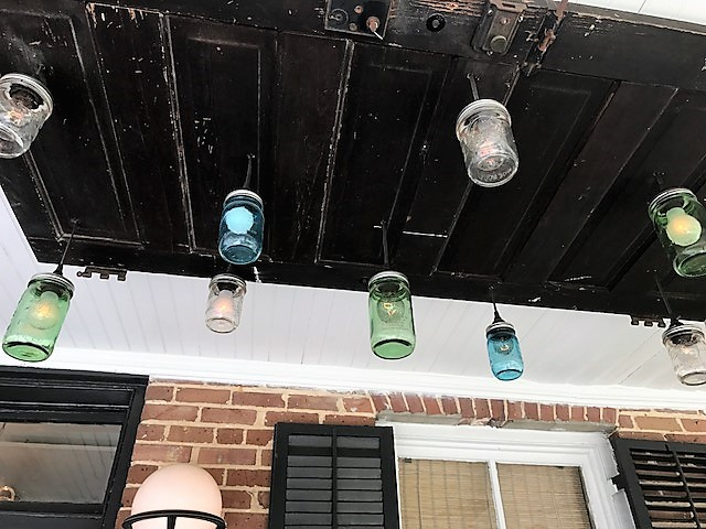 Attractive, quirky lights on the front porch in Summerville.