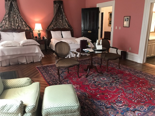Large guest room inside the mansion.
