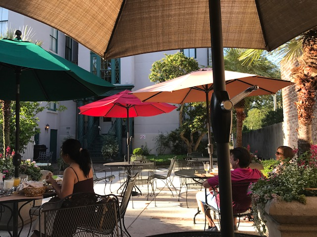 Courtyard for breakfast when the weather is nice.