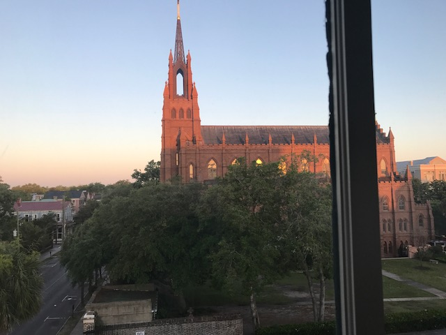 View of St. John the Baptist Cathedral from our guest room window.