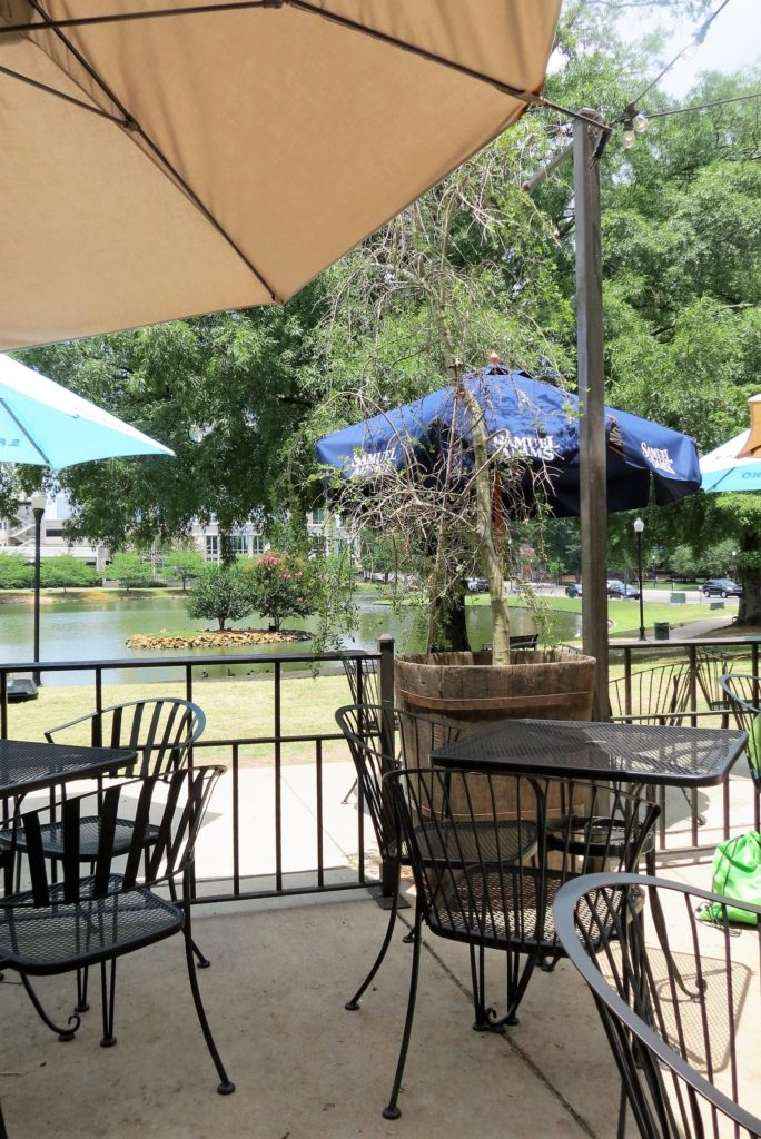 Outdoor dining at Pane e Vino overlooking Big Spring Park.
